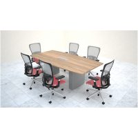 Mesa de reunión semieliptica base laminada
