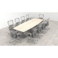 Mesa de reunión semieliptica base metalica